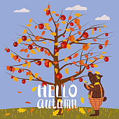 Hello Autumn lettering Apple Tree. Cute Bear covered fallen autumn leaves with cup coffee, autumn landscape fall. Vector illustration isolated
