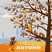 Hello Autumn Cute bear in pants with a cup of hot coffee. It stands under a tree and looks at the autumn tree, as the leaves fall. Illustration vector isolated banner postcard poster