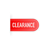 'Clearance sale' text on red ribbon, banner, advertising, vector illustration