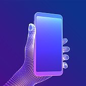 Smartphone in hand. Closeup mobile phone with blank empty screen in hand. Communication app smartphone concept. Digital concept of gadgets and devices themes. Abstract technology vector illustration.