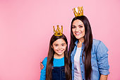 Portrait of two people nice cute adorable sweet pretty lovely attractive cheerful cheery positive glad straight-haired girls wearing luxury crowns isolated over pink pastel background