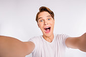 Close up photo of student guy making selfies wear casual outfit isolated white background