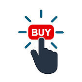 Click here button with hand pointer clicking. Click here web button. Isolated website buy icon with hand finger clicking cursor – stock vector