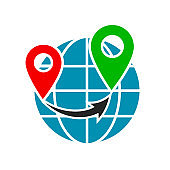 World wide logistics icon. Geolocation globe pin pointer GPS sign – stock vector