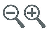 Increase-decrease magnifiers icons. Plus and minus zoom tool symbols. Search information signs. Zoom in, Zoom out icon.