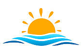 Seascape, blue sea and sun, summer sign – vector for stock