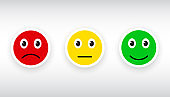 Three colored smilies, set smiley emotion, by smilies, cartoon emoticons icons - vector