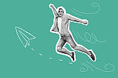 Portrait funky he his him guy jump fly unexpected trip futuristic stylized illustration breeze paper airplane cartoon style design shirt jeans denim painted into grey isolated green drawing background