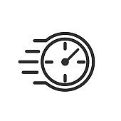 Fast stopwatch line icon. Fast time sign. Speed clock symbol urgency, deadline, time management, competition – for stock vector