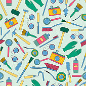 Seamless pattern with tools of geologist, archaeologist, builder.