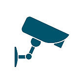 Security camera icon. Surveillance camera. Security equipment and security guard - stock vector