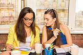 Pretty girls with glasses working out business plan