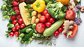 Assortment of fresh fruits and vegetables.