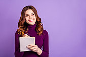 Portrait of charming college people holding hand pencil having thoughts isolated over purple violet background
