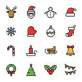 Christmas icons color vector
