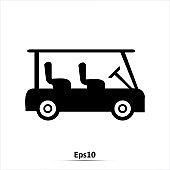 Golf cart vehicle icon. Vector Illustration