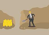 Businessman Gold Digger Conceptual Vector Illustration