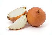 fresh onions isolated on white background