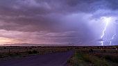 Farm Road Rural Country Storm Passing Lightning  Strike