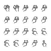 Simple line icon set of Touch Gestures