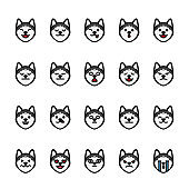 Color line icon set of Siberian husky animal Emoji Emoticon