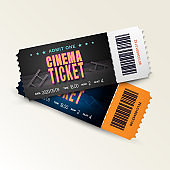 Two cinema tickets isolated on white background. Pair movie entrance ticket. Realistic 3D template set for Cinema, Theatre, Concert, Party, Event or Festival. Vector illustration close up front view