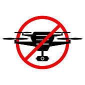 No drone zone sign. Flights with drone prohibited. Vector illustration