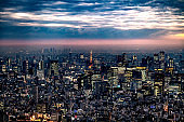 Tokyo Tower with skyline cityscape in Tokyo, Japan at night