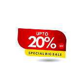 up to 20% Special Big Sale Label Vector Template Design Illustration