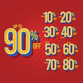 Sale Discount up to 90% off Set Vector Template Design Illustration