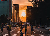 Taipei, Taiwan, 11 Aug 2019: Sun setting along the length of Zhongxiao Road in Taipei city known as taipeihenge