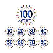 100 Years Anniversary Set Celebration Vector Template Design Illustration