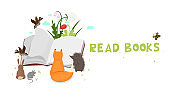 Animals are reading a book. Vector graphics