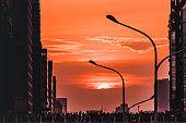 Taipei, Taiwan, 11 Aug 2019: Sun setting along the length of Zhongxiao Road in Taipei city known as taipeihenge