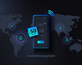 Global money transfers. Contactless payment. Mobile phone on a background of a world map with a payment system interface. Online money transfer around the world. Modern vector illustration.