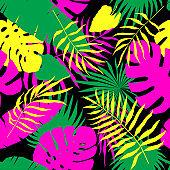 Tropical leaf seamless pattern.