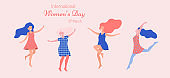 International Women's day. Dancing happy women.