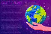 Save the Planet Earth concept vector illustration.
