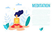 Woman sitting in lotus position practicing meditation. Yoga girl