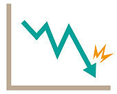 Illustration of an arrow pointing down.Illustration of line graph