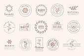 Set of elegant badges and stickers for beauty, natural and organic products, cosmetics, spa and wellness.