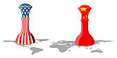 Chess piece with flags of United States and China