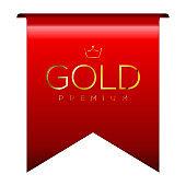 Isolated red premium label