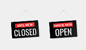 Come in we're open, sorry we're closed door signs stickers for your needs. Modern flat style vector illustration