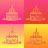 Birthday cake in outline contour style. Set of icons on four colorful backgrounds. Vector illustration for design of cards, posters, sites, flyers in festive cheerful style.
