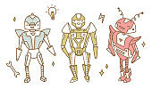 Vector transformer robot characters clip art set