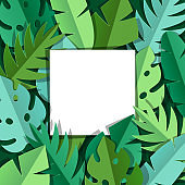Background with paper palm leaves.