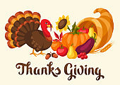 Happy Thanksgiving Day card with holiday objects.