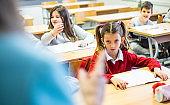 Schoolgirl are sad because teacher criticize her