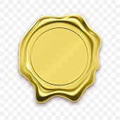 Gold stamp wax seal approval. Vector Quality guarantee golden label